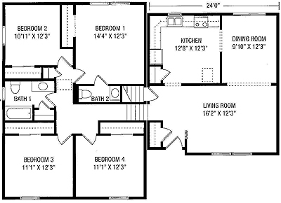 San Antonio Apartments Split Level Floor Plan