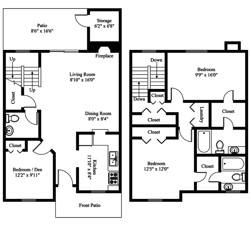 San Antonio Apartments Townhome Floor Plan